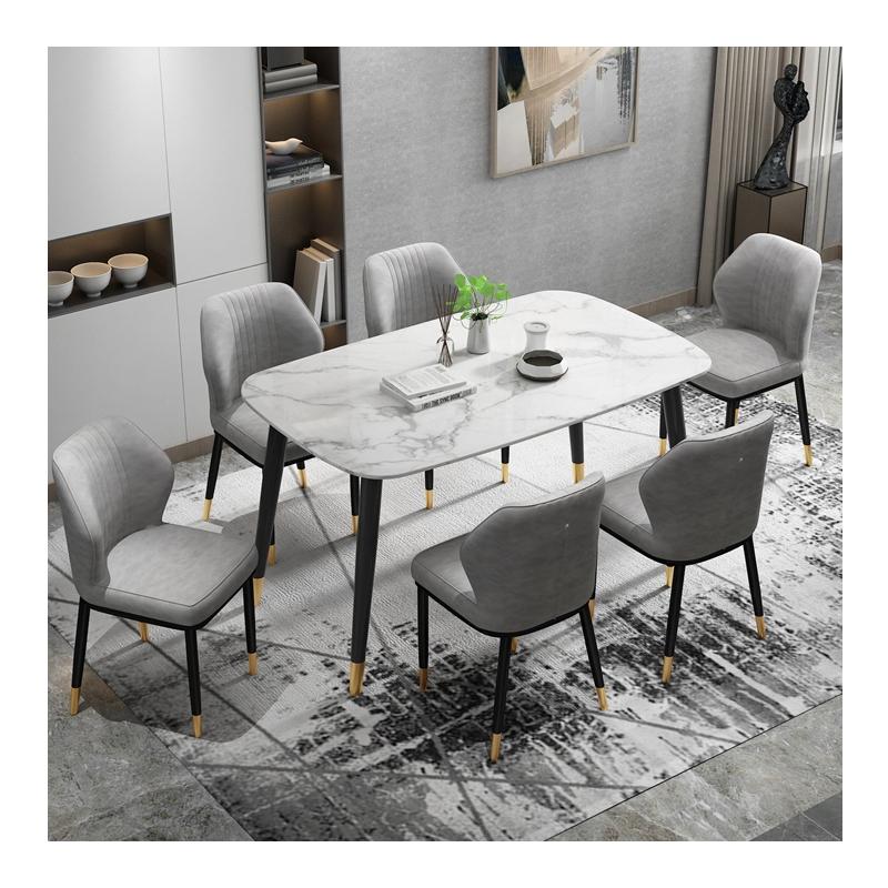 Juego de mesa de comedor de mármol moderno, muebles para el hogar, muestra gratis