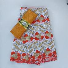 2,5 + 2,5 ярдов швейцарская вуаль кружева в Швейцарии с Bazin Riche ткани 100% хлопок Стразы Senegal сухие шнурки Материал невесты(Китай)