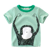 Kids 2019 Boutique Fashion Embroidery Design Bulk Combo Scoop Neck Striped Cotton Sport Boys T-Shirts