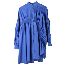 Женское платье-рубашка EAM, синее плиссированное платье большого размера с воротником-стойкой и длинным рукавом, весенне-Осенняя мода 2020 1K93705(Китай)
