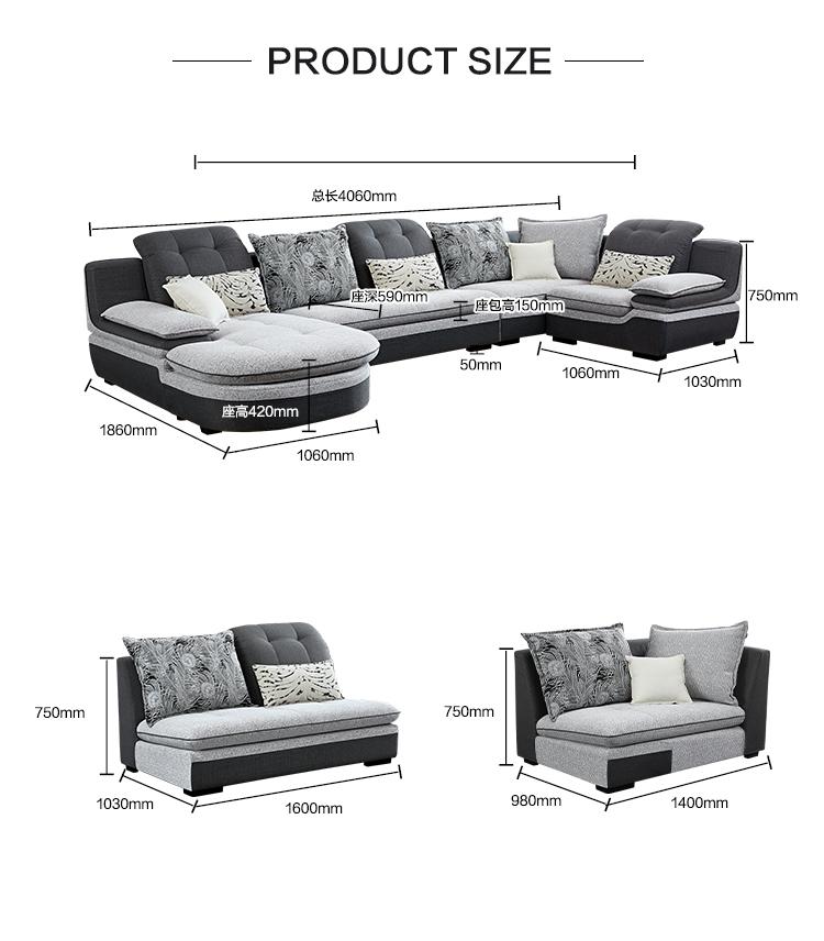 102181 Hot sale european style 7 seater luxury corner fabric sofa set