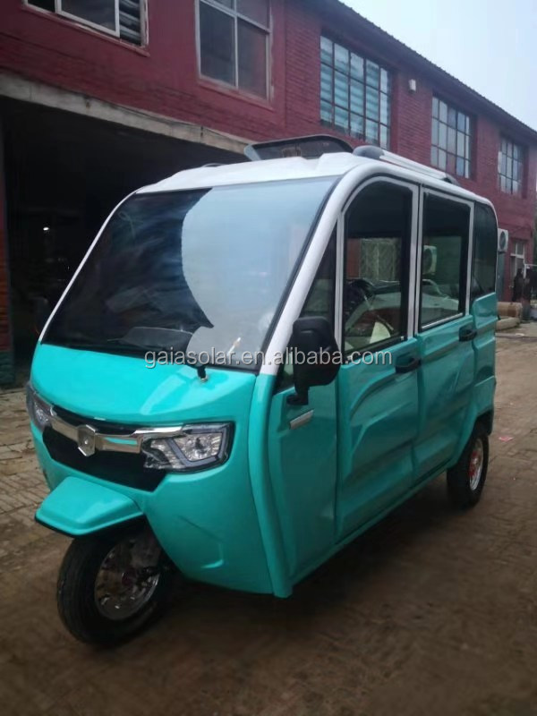 Solar power big wheel electric tricycle for adults with passenger seats for Taxi and elderly  from China factory