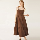 Chic Korean version Gentle brown sling in a long dress plus size dress Casual women dress