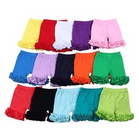 New summer kids baby girls stock RTS no moq icing pants loose clothes plain casual solid ruffle shorts