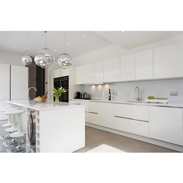 Free 3D design customized high gloss white flat panel cheap modular modern kitchen cabinets