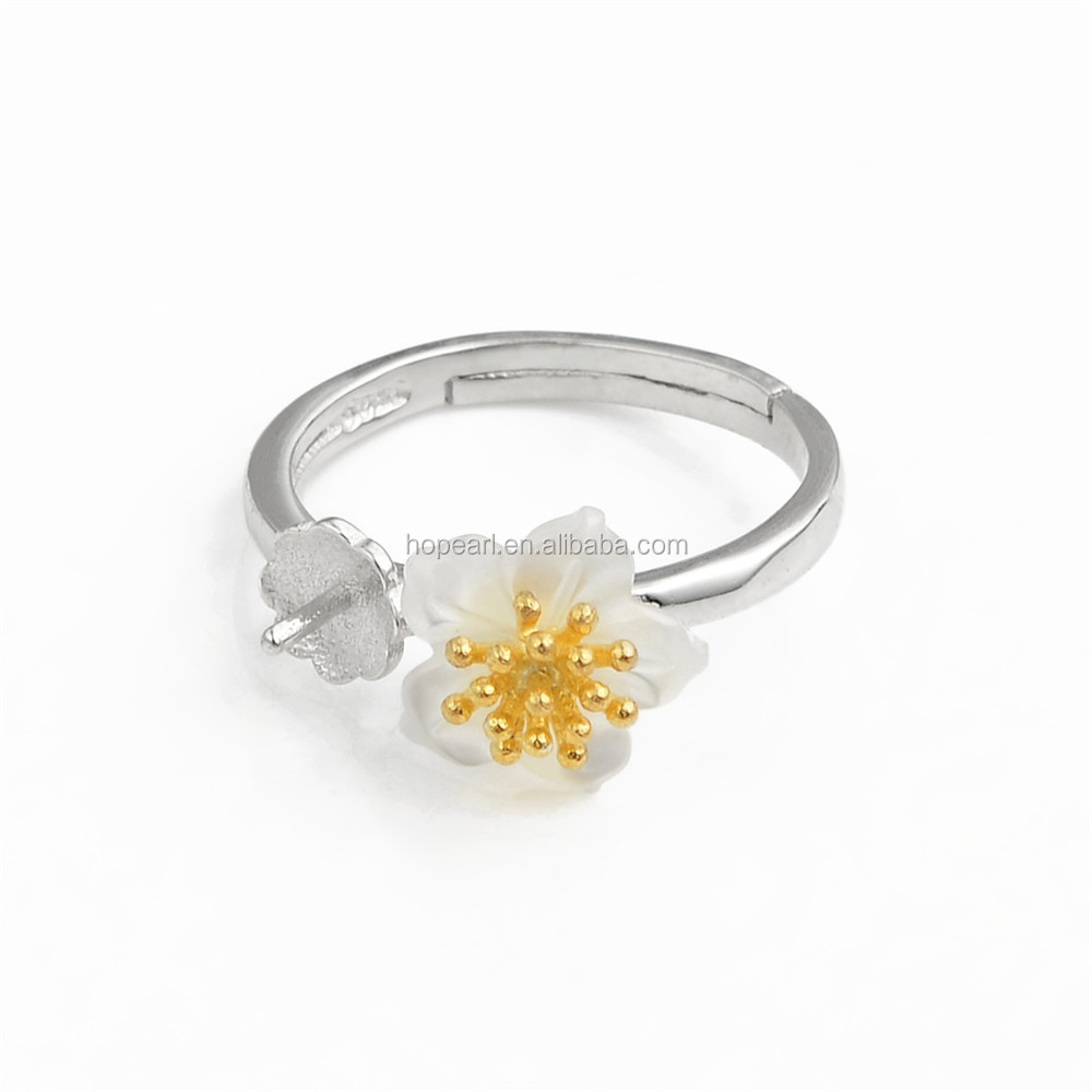 SSR124 White Shell Flower Gold Pollen Design 925 Silver Ring Jewellery Findings Pearl Mounting Sets