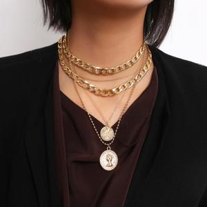 Retro portrait coin multi - tassel necklace style mix geometric thick chain necklace women jewelry