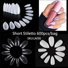 600/500 шт белые прозрачные французские накладные акриловые накладные ногти полностью/наполовину накладные ногти на гроб накладные ногти УФ-г...(Китай)