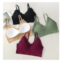 4075 Ultra Thin Lace bralette crop top Thread harness bralette Push up Removable no wire bra