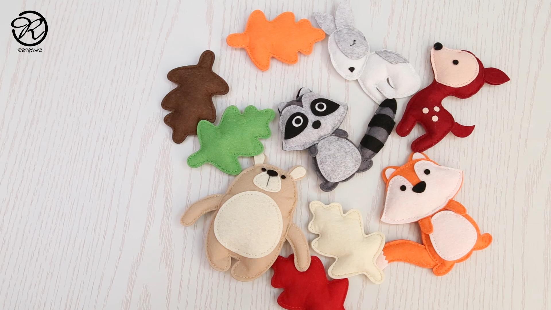 woodland plush animals Needle Felt Forest Animal for Baby toy room decoration