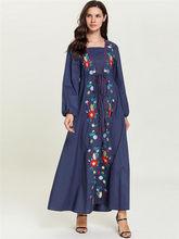 Платье макси с цветочной вышивкой, высокое качество, костюм Рамадана, исламский халат с длинным рукавом, с золотой талией, с завязками на тал...(Китай)