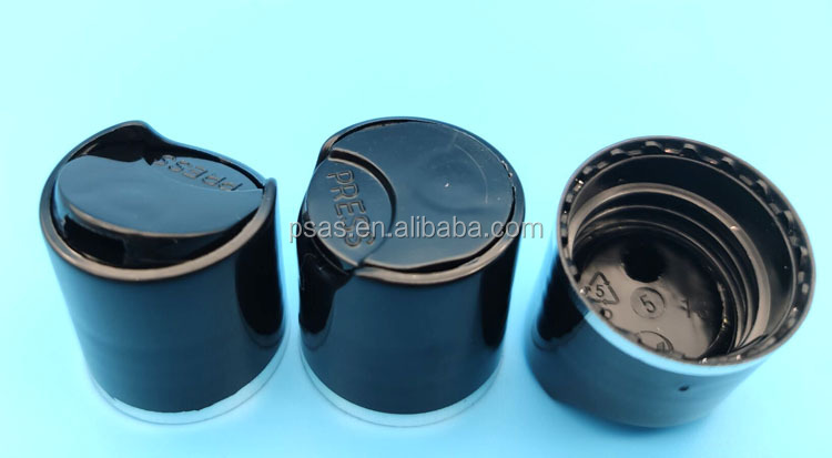 High quality 20/410 Black  Plastic press cap with Aluminum Silver circle small PP bottle cap