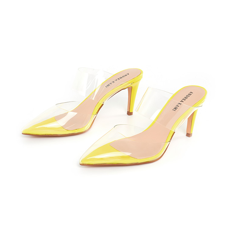 Womens 19 New Neon Yellow Tpu Lucite Mules High Heel <strong>Sandals</strong> High Quality Elegant Ladies Shoes