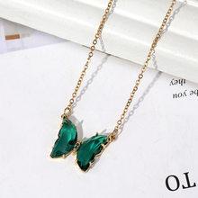 2020 Новая мода Милая титановая сталь Кристаллы ключицы цепь Бабочка ожерелье золотой кулон ожерелья женские аксессуары(China)
