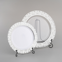 Hot Stamp Fancy Disposable Wedding Party Charger Rose Gold Plastic Plates Set Dinnerware