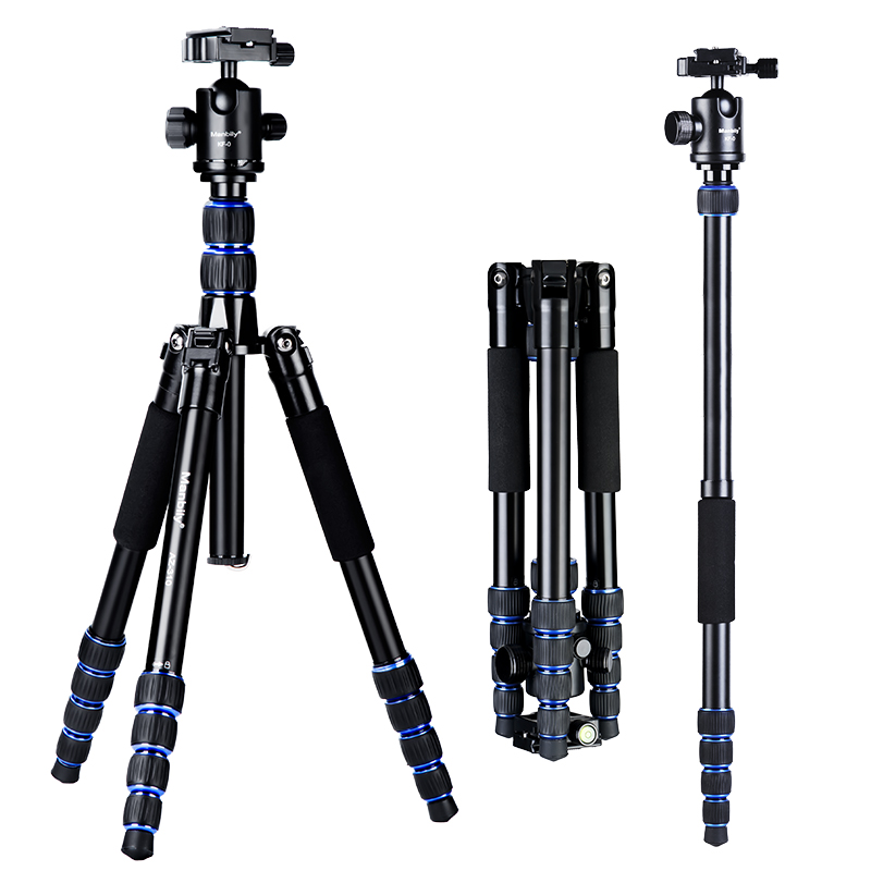 Manbily AZ-310 Camera Statief Monopod Met 360 Graden Vloeistof Balhoofd Aluminiumlegering As Inversie Ontwerp 15Kg Max