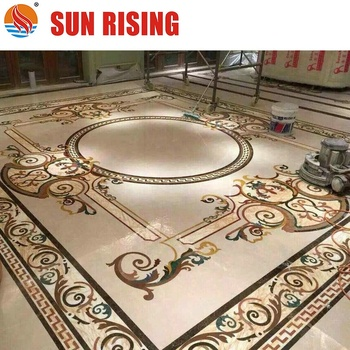 Water Jet Cut Marble Medallion Design Pattern for Hotel Lobby Floor