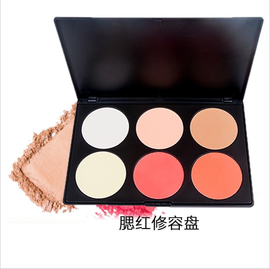 Promotional glasting natural High gloss 6 color blush palette