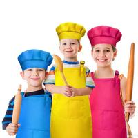 Boys and Girls Kitchen Cooking Baking Painting Waterproof and Adjustable Apron with Chef Hat Set