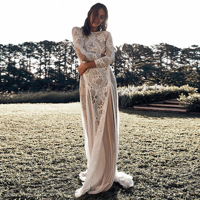 Fashion White Dreamy Long Sleeve Floral Lace Maxi Evening Bridesmaid Wedding Dress