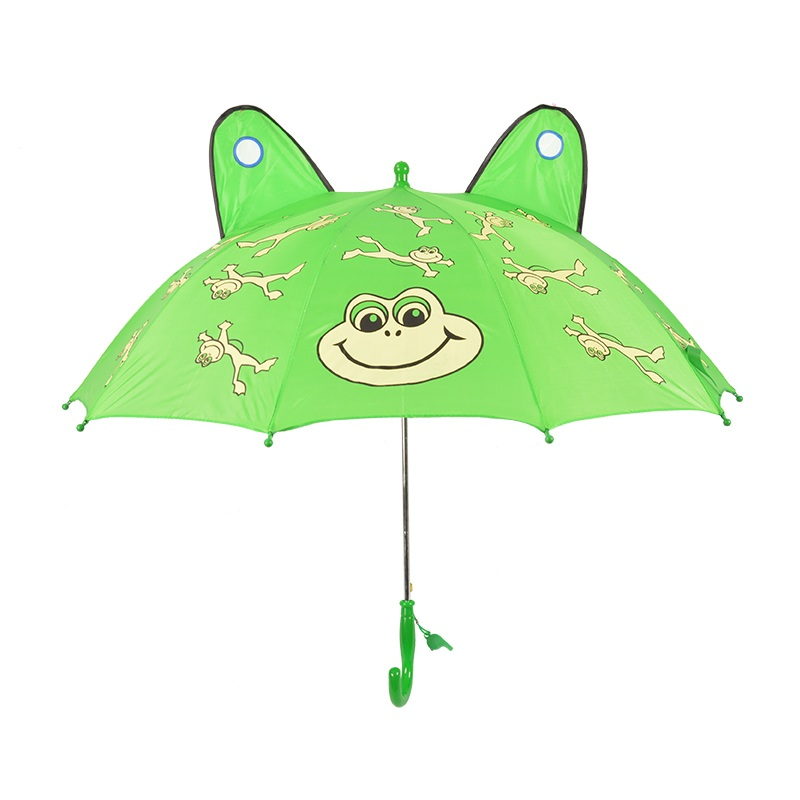 Green Frog Cartoon Kids Umbrella with Whistle Custom