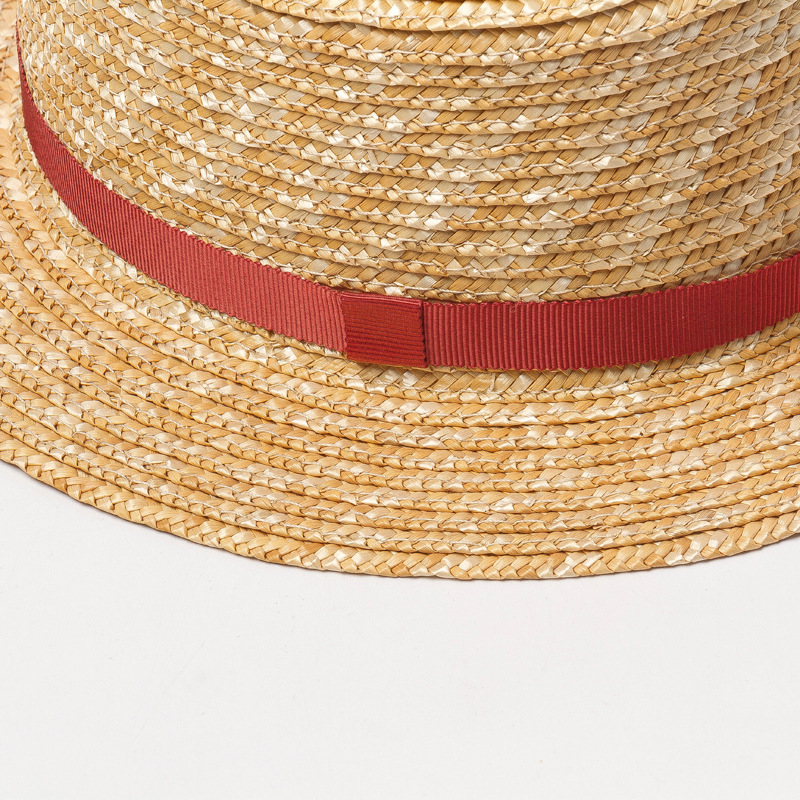 Child kid size straw boater Hat with customizable ribbon