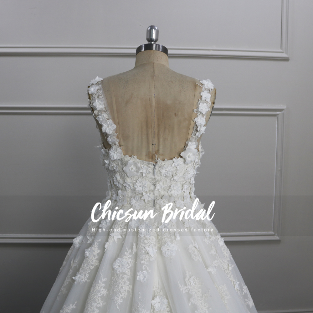 Fashion High Quality Sleeveless Appliqued Dress Wedding Luxury