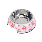 Hot sale stainless steel anti-skid rubber ring round melamine plastic pet bowl for dog cat