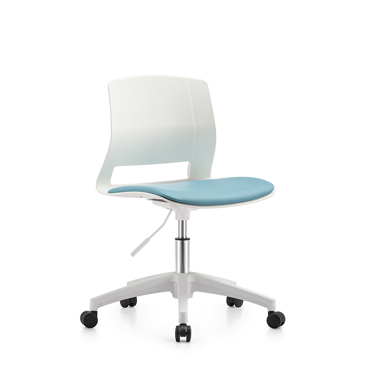 Customized PP plastic low back leisure without armrest executive white office chair