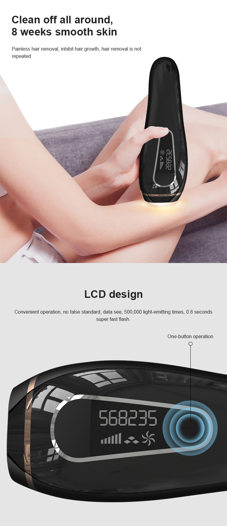 500,000 Flashes Permanent Painless IPL Hair Removal System for Women and Man