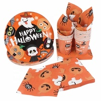 Umiss Paper Tableware Set For Birthdays, Kids,Baby Shower, Weddings and Holiday Halloween Paper Tableware Set