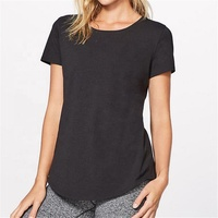 New fashion women street blank tshirts for women t-shirts from china with curve hem