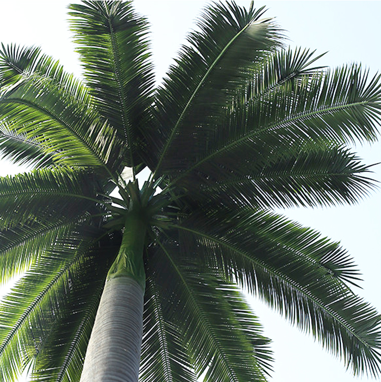 Anti-fading High Temperature Resistance Anti-uv Artificial Outdoor Fake Fan Palm Tree Leaves
