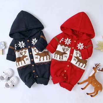 High quality baby clothes knit Christmas cartoon deer hooded baby+rompers boys and girls christmas clothes children