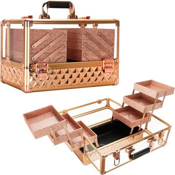 Golden rose gold clear transparent Large Lockable Acrylic Makeup VanityCosmetic Storage Display Case Box for making up