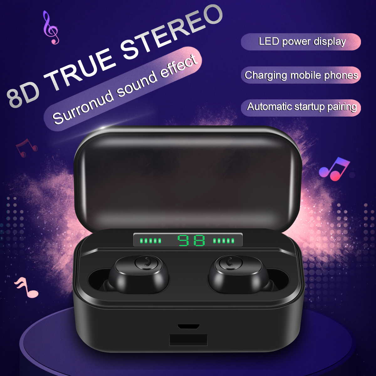 G6S V5.0 Bluetooth Stereo Earphone Wireless Touch Earbuds Headset with LED Display Charge Case