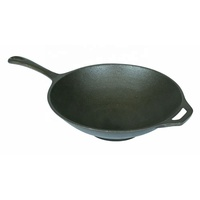 Non-stick Chinese Open Fry Pan Handmade Cast Iron Wok With Wood Cover