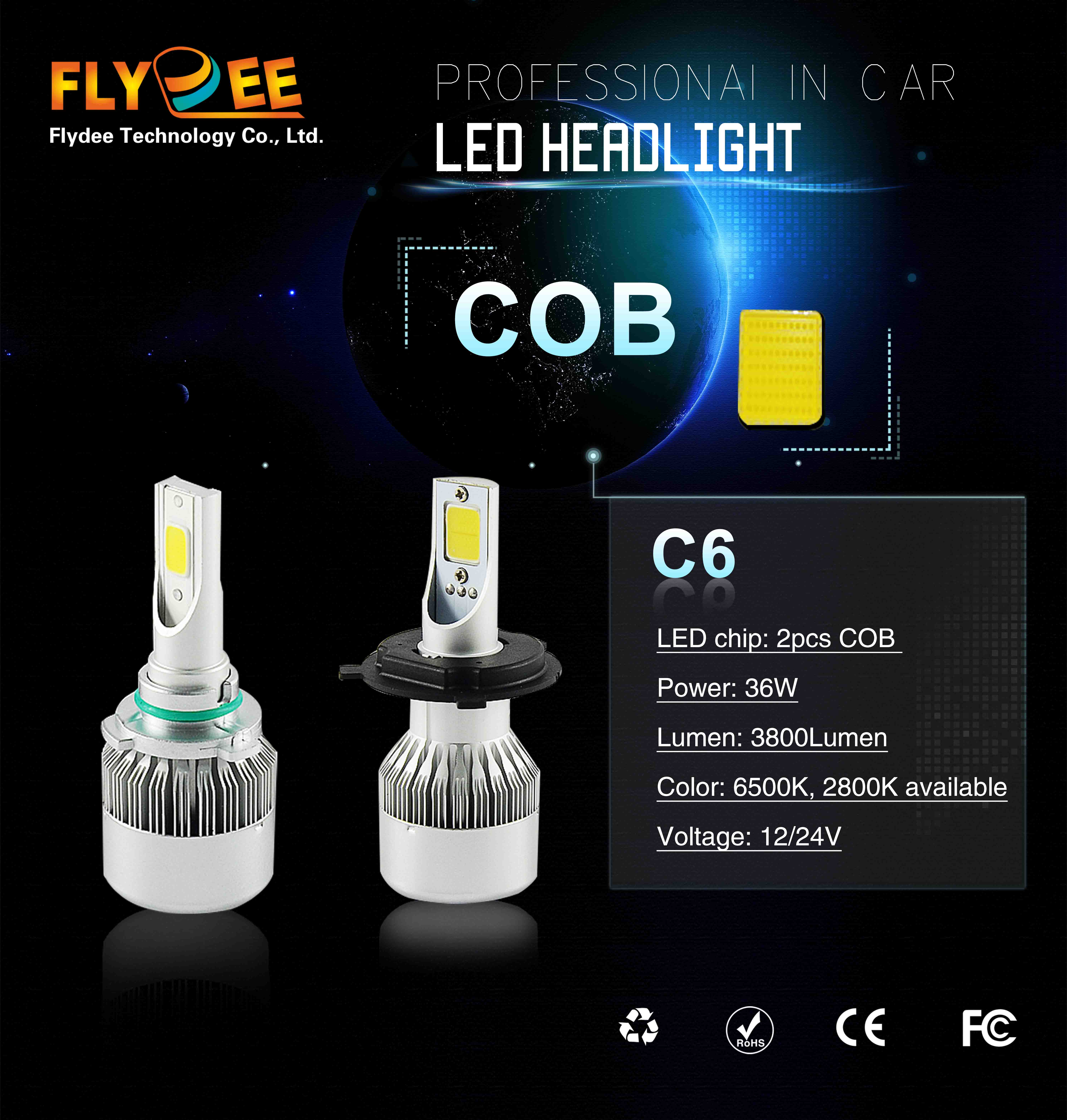 2PCS one pack  H7 H8 H9 H11C6 LED Headlight Conversion Kit COB Bulb 100W 20000LM White High Power 6000K
