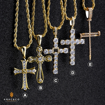 Religious Christian Small 18k Gold Diamond CZ Cross Pendant Necklace Jewelry Stainless Steel Men Cross Necklace for Man Women