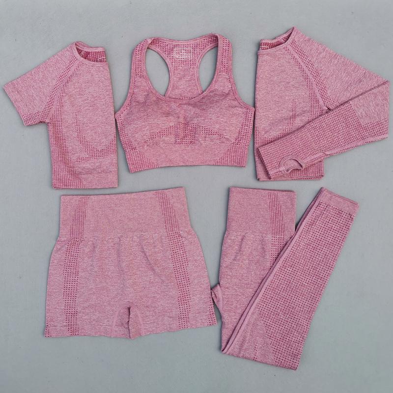 Wholesale Ladies Stretchy Running Training Fitness Womens Gym Leggings High Waist Seamless 5 Piece Yoga Set