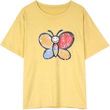 Женская футболка ELFSACK, желтая Повседневная футболка с коротким рукавом, в Корейском стиле, лето 2020(China)