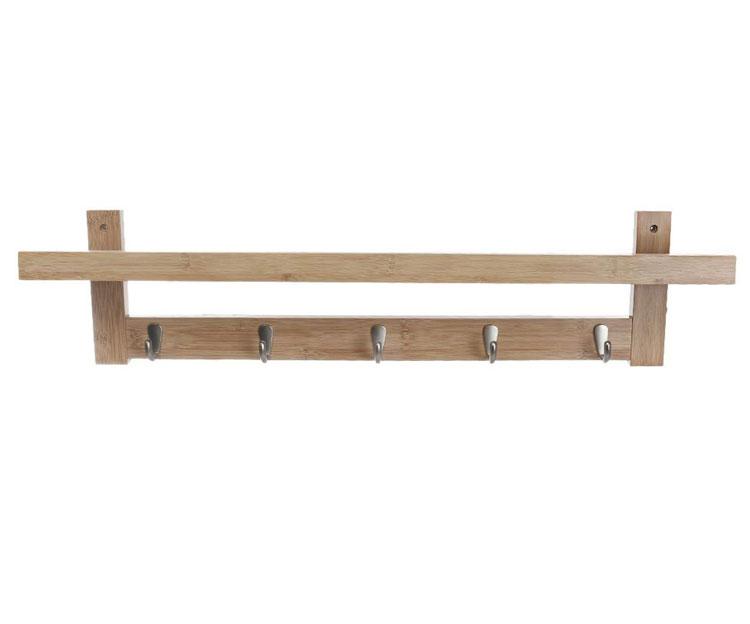 5 Metal Hooks Wall-Mounted Hook Bamboo Coat Rack For Bedroom Bathroom Foyer Hallway 11