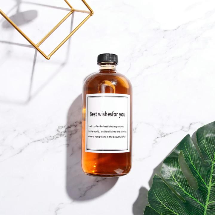 Amber Bulat Minuman Berkarbonasi Botol Kaca untuk Kopi 500Ml