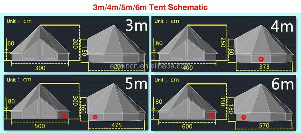 خيمة التخييم القطنية القطنية المقاومة للماء 5 متر خيمة ناقوسية الشكل خيمة تيبي يورت غلامبينج