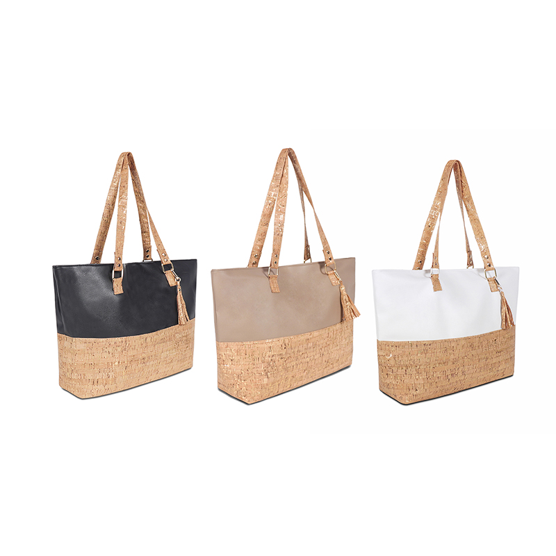 Monogrammed Cork Leather Handbag Wholesale Women Personalized Cork Leather Tote Bag With Tassel