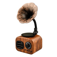 Fashion style classic retro literary wooden phonograph record player bluetooth audio receiver