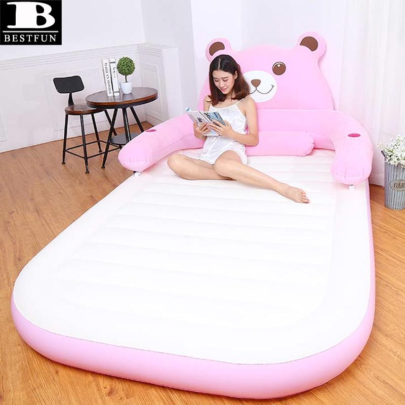 Zware comfortabele massaal oppervlak opblaasbare TOTORO air bed duurzaam blow up TOTORO luchtbed matras chaise sofa lounge