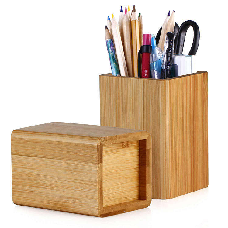 Multipurpose Square Large <strong>Bamboo</strong> <strong>Pen</strong> <strong>Holder</strong> For Office Living Room Bedroom