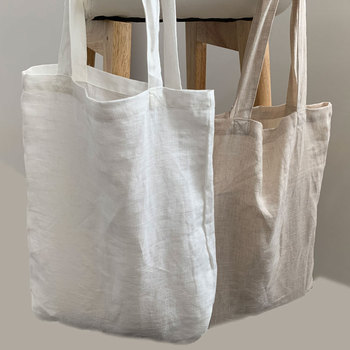 100 percent French linen Fabric for Eco-Friendly Promotion eco Reusable Street Shoulder Handle Linen Tote Bag