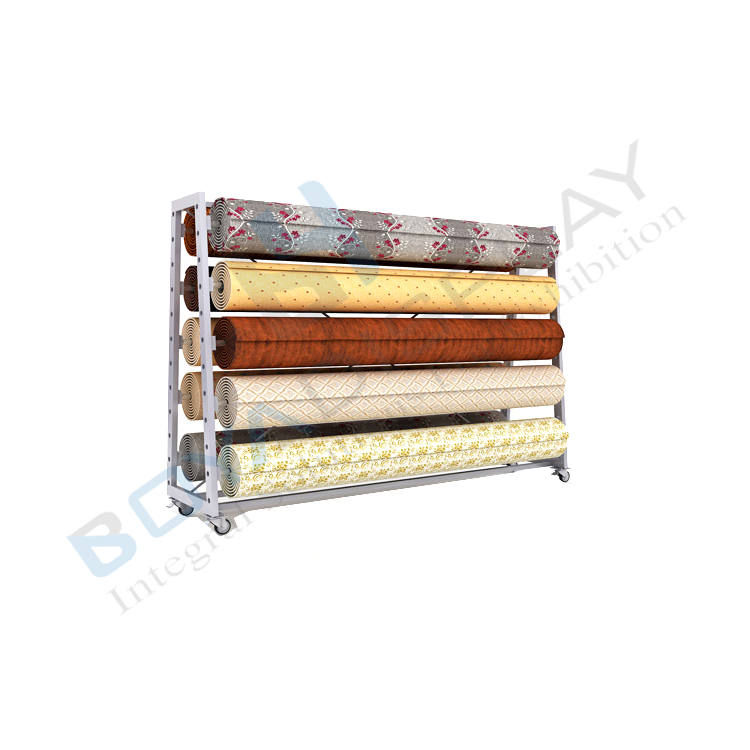 2020 Customize movable New Rolling Up Rug Shop Carpet Display Rack <strong>Stand</strong>